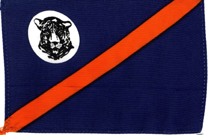 unknown flag with blue, orange and white fields including a tiger
