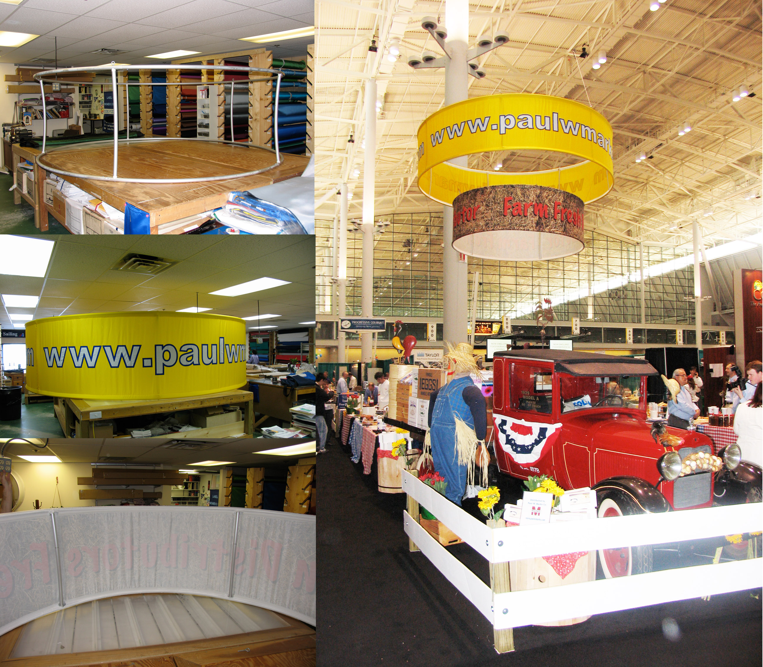 Exhibitions with tension fabric structures custom by Accent Banner