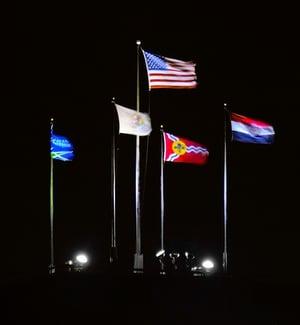 Display a US Flag at Night